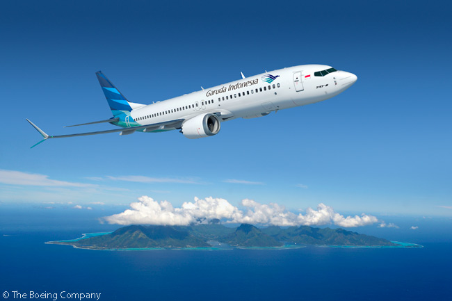 Garuda Indonesia announced an order on October 12, 2014 for 50 Boeing 737 MAX 8s. Pictured here is an illustration of a 737 MAX 8 in Garuda Indonesia's livery