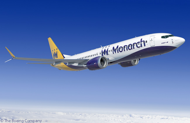 On October 31, 2014, Monarch Airlines finalized a firm order for 30 Boeing 737 MAX 8s and optioned 15 more. Pictured here is a Boeing 737 MAX 8 in Monarch Airlines' livery