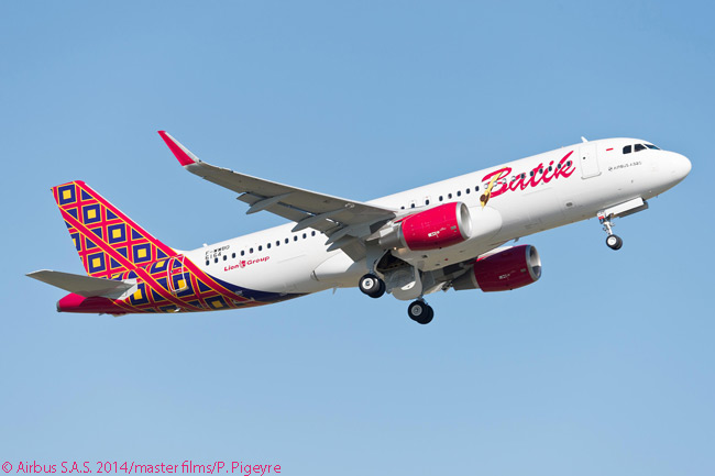 Indonesia's Lion Group took delivery on November 12, 2014 of the first three of 234 Airbus A320-family jets it had ordered in March 2013. The three aircraft, all of them A320s, were to be operated by Batik Air, Lion Group's full-service carrier