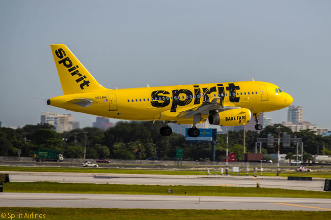 Ultra-low-cost carrier Spirit Airlines, which was the first to charge passengers for bringing carry-on baggage on board their flights, operates an all-Airbus A320-family fleet. The carrier began painting its fleet in a new bright-yellow-and-black livery in 2014