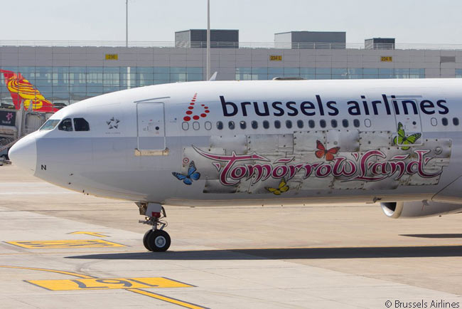 Lufthansa Group affiliate Brussels Airlines is rationalizing its fleet to operating only the Airbus A330 and A320 families. This A330 has a special livery promoting the Tomorrowland theme park in Belgium