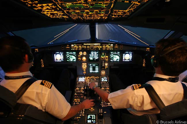 Brussels Airlines is a member of the Star Alliance. This is the cockpit of one of its Airbus A330s