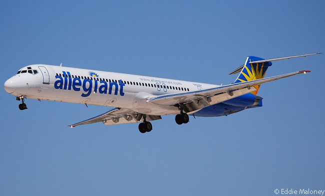 This photograph shows Allegiant Air McDonnell Douglas MD-88 N401NV on final approach for landing