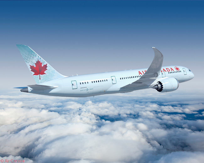 As of late 2014, Air Canada had ordered 15 Boeing 787-8s and 22 Boeing 787-9s. This computer graphic image shows one of its 787-8s