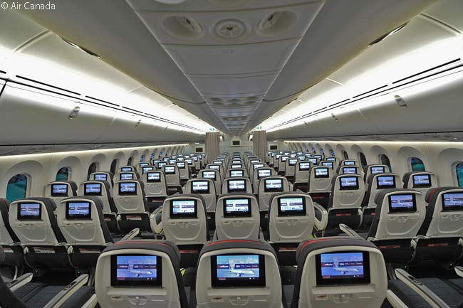 This photo shows part of the Economy cabin in one of Air Canada's Boeing 787-8s