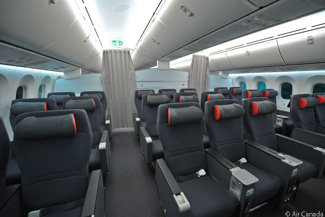 This is what the Premium Economy cabin in Air Canada's Boeing 787-8s looks like