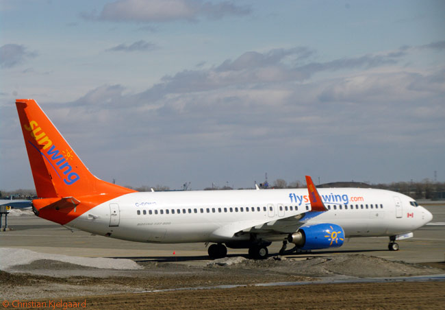 Canadian leisure carrier Sunwing Airlines operates a fleet of between 20 and 29 aircraft, most or all of them leased Boeing 737-800s, depending on the season. This Sunwing 737-800 was photographed in April 2013 at Montréal-Trudeau International Airport
