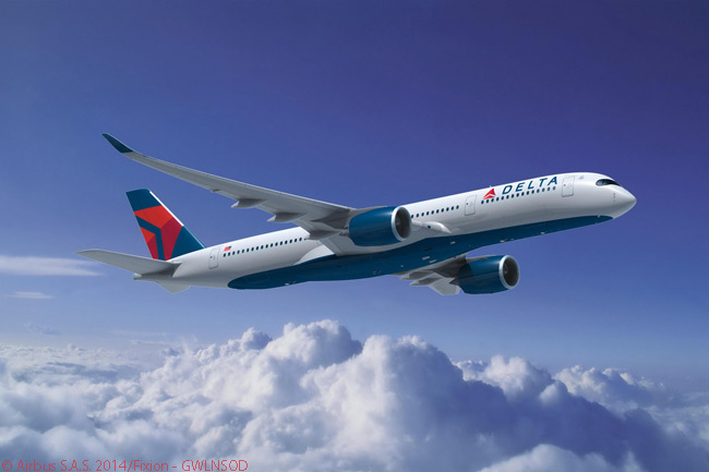 On November 20, 2014, Delta Air Lines ordered 25 Airbus A350-900s and 25 A330-900neos, following a hard-fought sales battle between Airbus and Boeing. This computer graphic image shows an A350-900 in Delta Air Lines colors