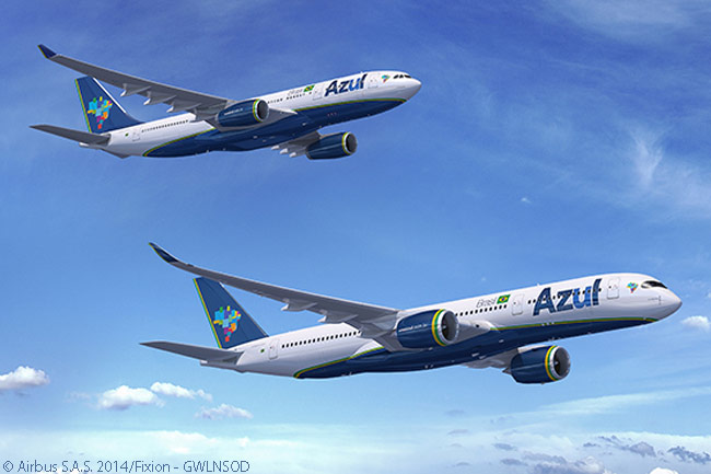 This computer graphic image from Airbus shows an Airbus A350-900 and an A330-200 in the colors of Azul Linhas Aéreas Brasileiras. In 2014, Azul agreed to lease six A330-200s and five A3500-900s from International Lease Finance Corporation in order to operate intercontinental scheduled services to the United States and elsewhere, beginning in December of that year
