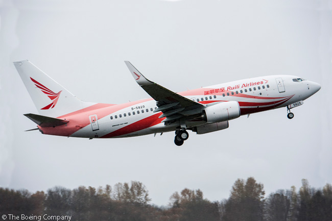 On November 25, 2014, Ruili Airlines took delivery of its first Boeing 737-700 ordered directly from the manufacturer. Ruili Airlines is a privately owned carrier established in 2014 and based at Changshui International Airport in Kunming, the capital city of China's Yunnan province. Pictured here is a Boeing 737-700 in the airline's livery
