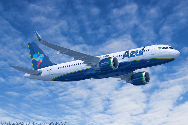 Azul Linhas Aéreas Brasileiras said it would operate the 35 Airbus A320neos it ordered from Airbus and 28 additional A320neos it would lease in single-class configuration seating up to 174 passengers. Azul also said it would operate the aircraft on its longer-haul domestic routes and on high-capacity routes such as those linking its Campinas hub with the cities of Recife and Salvador. Azul would also use the A320neo's good short-runway performance to operate the type on its routes to and from Rio De Janeiro's downtown, short-runway Santos Dumont Airport