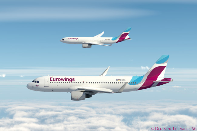 Lufthansa Group revealed its 'New Eurowings' low-cost brand and livery on December 3, 2014. The new carrier was created to operate services throughout Europe with Airbus A320s and, from a base at Cologne/Bonn Airport, long-haul services using a fleet of leased Airbus A330-200s