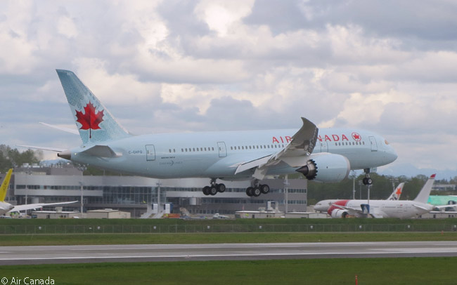 After a pre-delivery test flight, Air Canada Boeing 787-8 C-GHPQ lands at Paine Field at Everett in Washington, the site of Boeing's main widebody final-assembly and delivery facility
