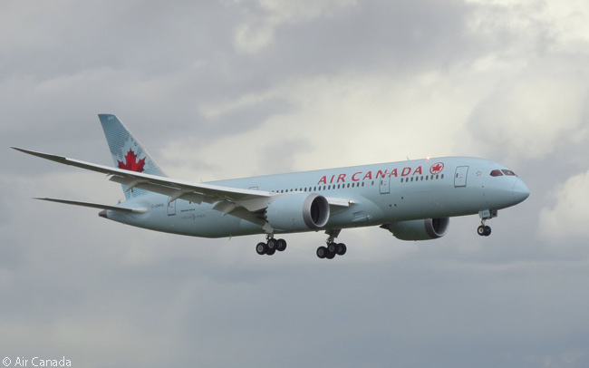 C-GHPQ, a Boeing 787-8, was the first Boeing 787 to be delivered to Air Canada, the aircraft landing at Toronto Pearson International Airport on May 18, 2014. Air Canada became the second North American airline to put Boeing 787s into operation