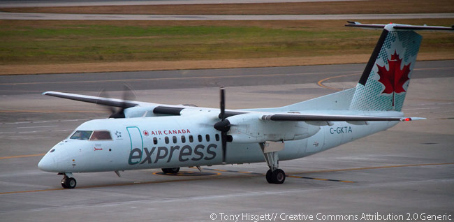 Air Canada Express Bombardier Dash-8-301 C-GKTA taxis at a Canadian airport