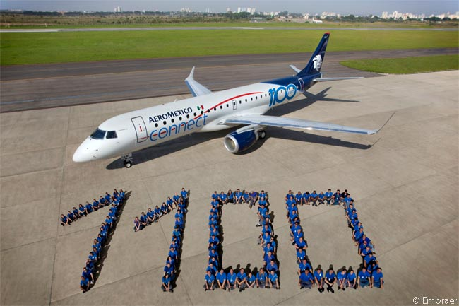 On December 10, 2014, Embraer handed over the 1,100th production E-Jet, to Aeromexico Connect, in a cermeny held at Grupo Aeromexico's maintenance center at Mexico City's Aeropuerto Benito Juárez Internacional