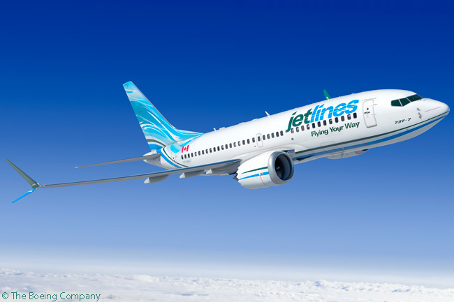 On December 15, 2014, ultra-low-cost Canadian start-up Jetlines placed an order for five Boeing 737 MAX 7s and secured purchase rights on 16 additional 737 MAX jets
