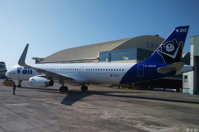 V Air's first aircraft is this Airbus A321 but the Taiwanese low-fare carrier expects to lease more new A320s and A321s to fuel its network and service expansion