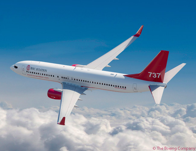 On December 18, 2014, Singapore-based leasing company BOC Aviation finalized an order for two additional Boeing 737-800s, in a deal which Boeing valued at $186 million at list prices. Earlier in the year BOC Aviation ordered 80 737s, among them 50 737 MAX jets. This computer graphic image shows a Boeing 737-800 in BOC Aviation's house colors