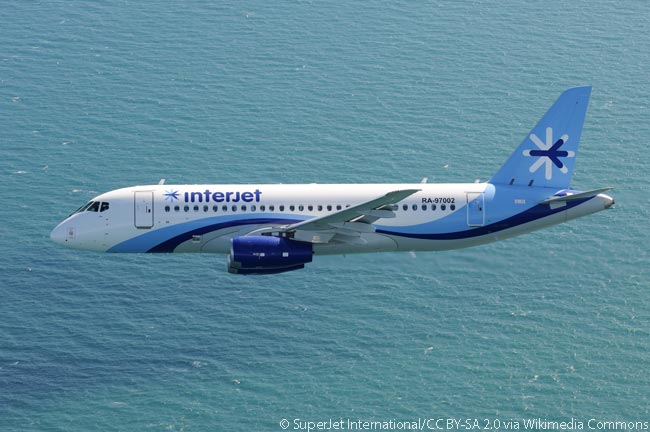 This Sukhoi Superjet 100, later delivered to Mexican carrier Interjet, is photographed in fight over the sea near Venice SSJ100 for Interjet inflight over Venice. Interjet was the first Western carrier to order the Superjet 100 and took delivery in 2013 of the first of 30 aircraft on order