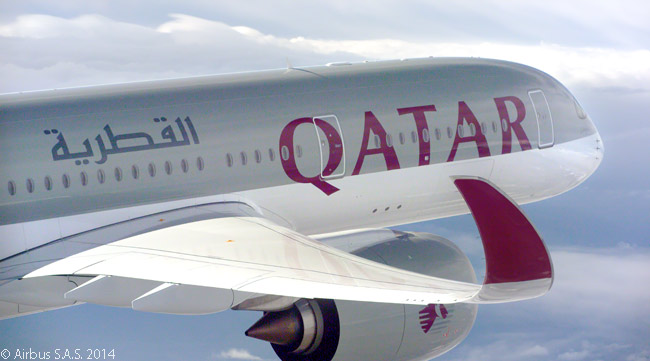 The sleek lines of the Airbus A350 XWB are emphasized in this air-to-air photograph of Qatar Airways' first A350-900