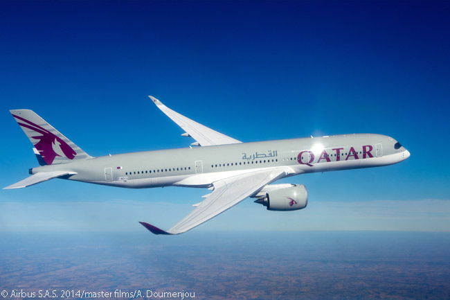 Qatar Airways became the first customer to take delivery of an Airbus A350 XWB widebody on December 22, 2014, when it took delivery of its first A350-900