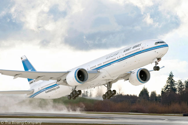 On December 23, 2014, Kuwait Airways finalized an order for 10 Boeing 777-300ERs, which Boeing valued at $3.3 billion at list prices. The computer graphic image shows a Boeing 777-300ER in Kuwait Airways' livery
