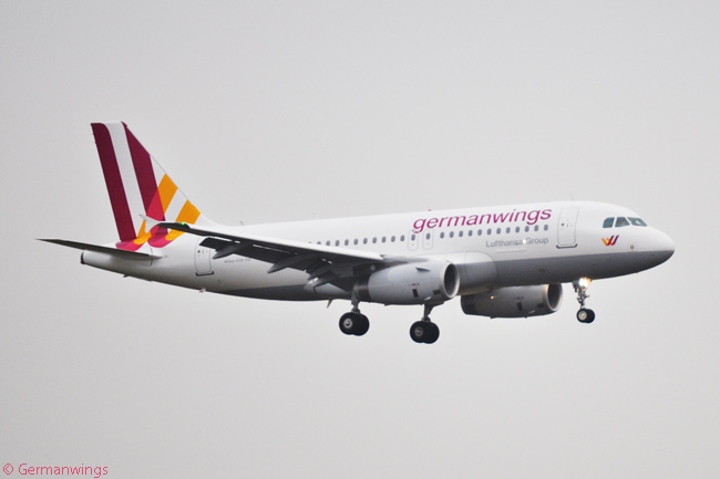 A Germanwings Airbus A319 is photographed landing at its main base at Cologne Bonn Airport