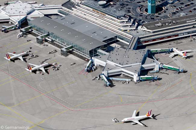 This photograph shows Germanwings' terminal at Cologne Bonn Airport, where the airline is based
