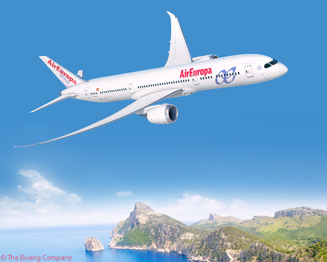Boeing announced on January 15, 2015, that Spain's Air Europa was the previously undisclosed customer for 14 787-9s. According to Boeing, the December 2014 order, which the company valued at $3.6 billion at list prices, was the largest-ever Boeing widebody order from a Spanish carrier. Shown here is an illustration of a 787-9 in Air Europa's rather humdrum livery