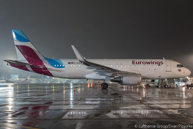 The new Eurowings' first Airbus A320, an aircraft registered D-AIZQ, is seen in this night shot at Düsseldorf Airport on January 25, 2015, before it officially entered service
