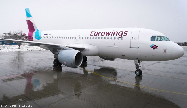 The first Airbus A320 painted in the new Eurowings livery operated the new airline brand's first service on February 1, 2015, between Hamburg and Prague