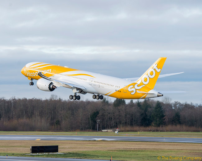 On February 2, 2015, Singapore-based low-cost, long-haul carrier Scoot took delivery of its first Boeing 787, a 787-9. the aircraft was the first of 20 787s ordered for Scoot by parent company Singapore Airlines, 10 of the aircraft to be 787-9s and the other 10 787-8s