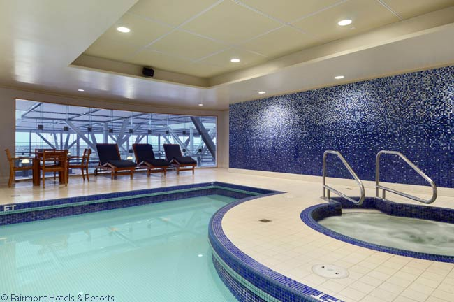 Among the Fairmont Hotel Vancouver Airport's amenities for guests is a swimming pool. The hotel also has a health club, with a sizable gym