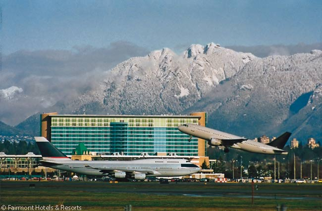 The Fairmont Hotel Vancouver Airport is the only hotel actually built into the airport's terminal complex. Its entrance is in the main passenger terminal only a two-minute walk from Canadian and U.S. Customs and Immigration stations