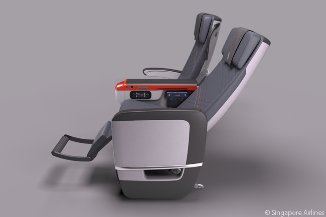 Each seat in Singapore Airlines' Premium Economy Class is from 18.5 to 19.5 inches wide and offers eight inches of recline
