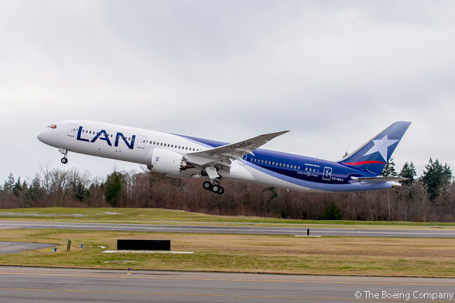 LAN Airlines, one of the core members of the LATAM Airlines Group, took delivery of the group's first 787-9 on February 6, 2015. LATAM Airlines Group is leasing the new aircraft from Amsterdam-based lessor AerCap, which inherited ownership of ILFC's Boeing 787 orders when it bought the Los Angeles-based leasing company in 2014
