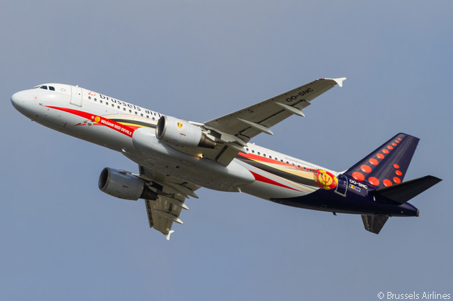 This is one of two Airbus A319s which Brussels Airlines has given a special livery to honor Belgium's national soccer team, 'The Red Devils'. The carrier has also painted an A330 in a 'Belgian Red Devils' livery