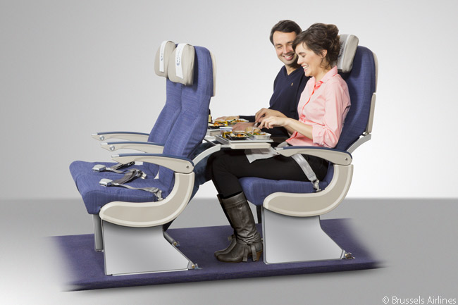 All of the seats in Brussels Airlines' long-haul Economy cabins have seat pitches of at least 32 inches and some have seat pitches of 34 inches. Each seat also offers 11 degrees of recline, where its previous-generation seats offered 8 degrees