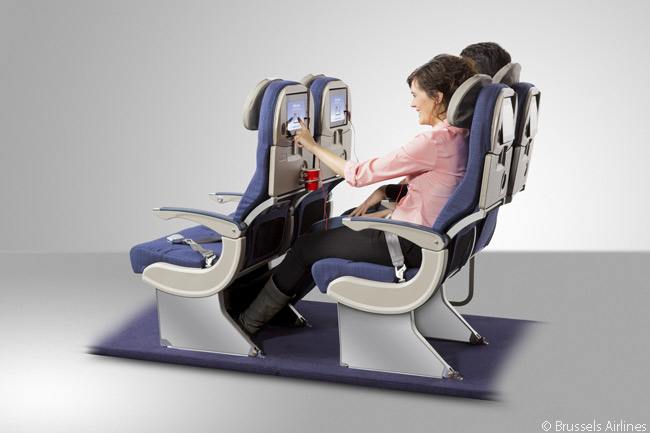 Like the seats in its Business Class cabins, each seat in Brussels Airlines' long-haul Economy-class cabins has a seatback in-flight entertainment screen which is actually a touchscreen tablet computer rather than a mere monitor