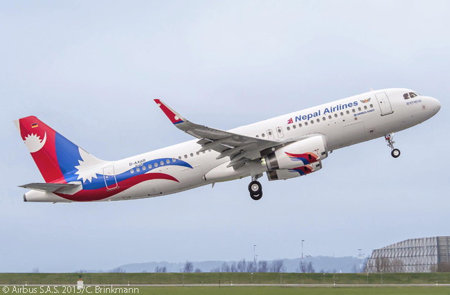 On February 9, 2015, Nepal Airlines Corporation took delivery of the first  of two new Airbus A320 jets fitted with Sharklets. The aircraft also sported a new livery introduced by the airline on its domestic fleet in 2014
