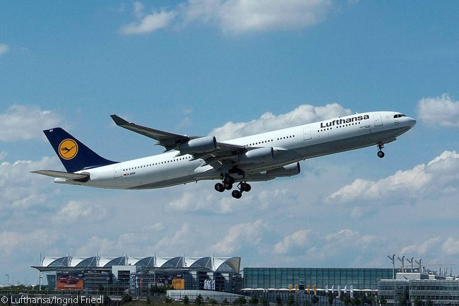 A Lufthansa Airbus A340-300 takes off from Munich Airport