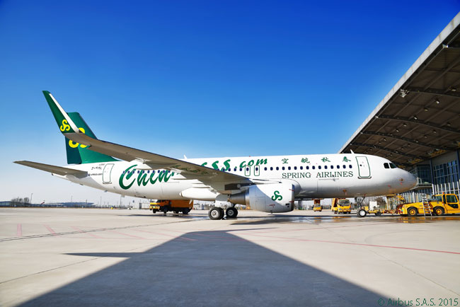 All-A320-family operator Spring Airlines, China's first low-cost airline, took delivery of its 50th A320 at the Airbus (Tianjin) Delivery Center on February 11, 2015. Spring Airlines took the aircraft on lease from ICBC Financial Leasing, a leasing company owned by the Industrial and Commercial Bank of China