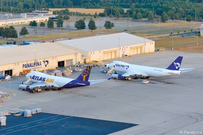 Europe-based logistics giant Panalpina operates two air cargo hubs. One is at Huntsville International Airport in Alabama, where flights operated by Boeing 747-8Fs and 747-400Fs which Panalpina wet-leases or charters from Atlas Air connect to offer air cargo services linking North and South America, Europe and Asia