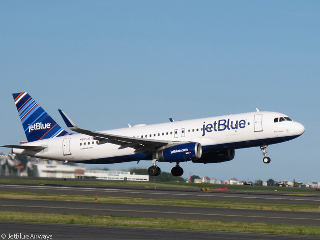 This JetBlue Airways Airbus A320 provides a fine action study as it takes off. This aircraft, registered N821JB and delivered new to the airline in 2012, is fitted with Sharklets, which JetBlue is fitting to all the A320s and A321s in its fleet