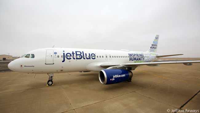 On February 17, 2015, JetBlue Airways unveiled a new one-off aircraft livery it called 'Bluemanity'. The livery, painted on an A320, featured words which the airline said were its core values and those of its employees