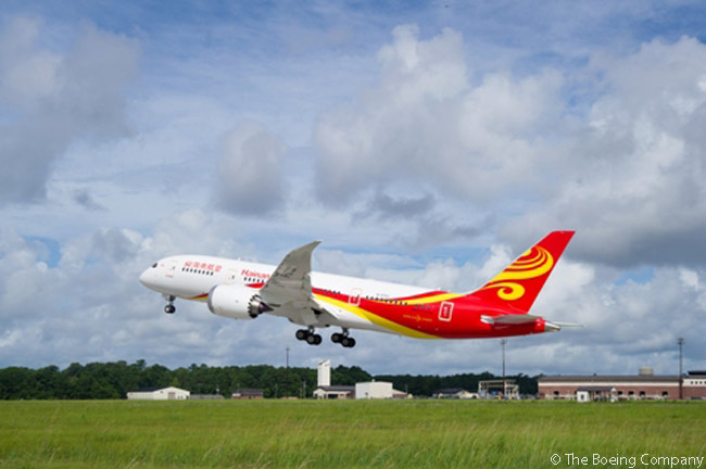 By February 2015, Hainan Airlines had a total of 12 Boeing 787-8s in service and on order