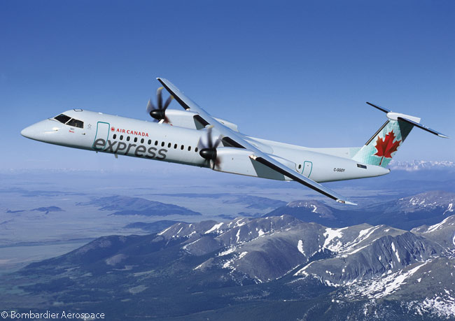 Chorus Aviation's subsidiary Jazz operates or has on order a total of 34 Bombardier Aerospace Q400 NextGen turboprop regional airliners, for operation on behalf of the Air Canada Express regional-airline network