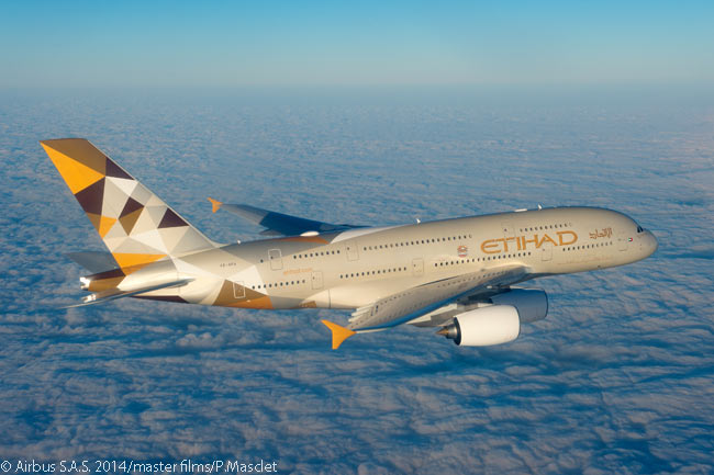 Etihad Airways took delivery in December 2014 of the first of 10 Airbus A380 superjumbos it had on order