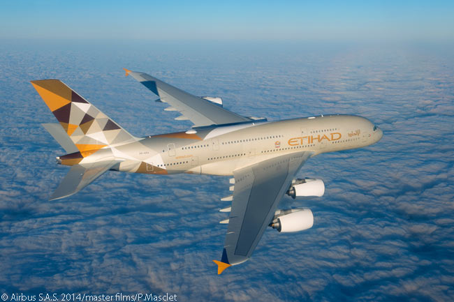Abu Dhabi-based Etihad Airways put its first Airbus A380 into commercial service on December 27, 2014, on flights between its hub at Abu Dhabi International Airport and London Heathrow Airport